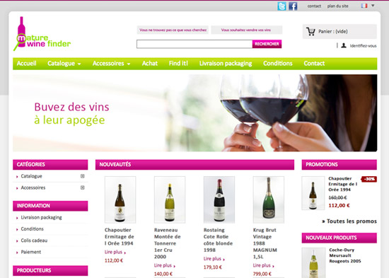 Site Internet Mature Wine Finder