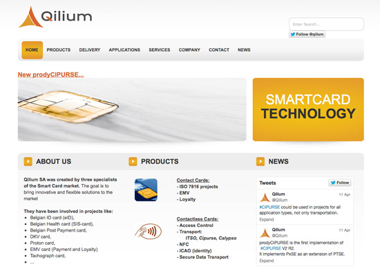 Création du site Internet Qilium Smart Card Technology